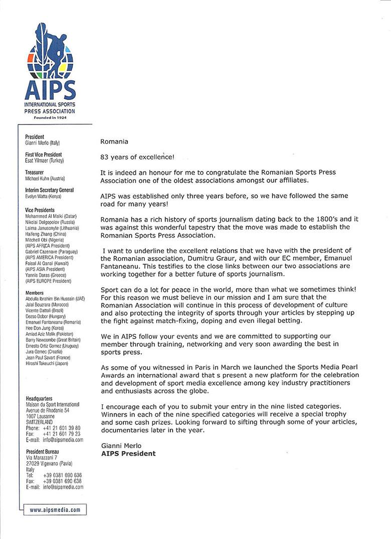 Mesajul preşedintelui AIPS, Gianni Merlo, adresat Adunării Generale a Asociaţiei Presei Sportive din România