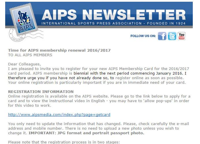 A venit vremea reînnoirii statutului de membru AIPS