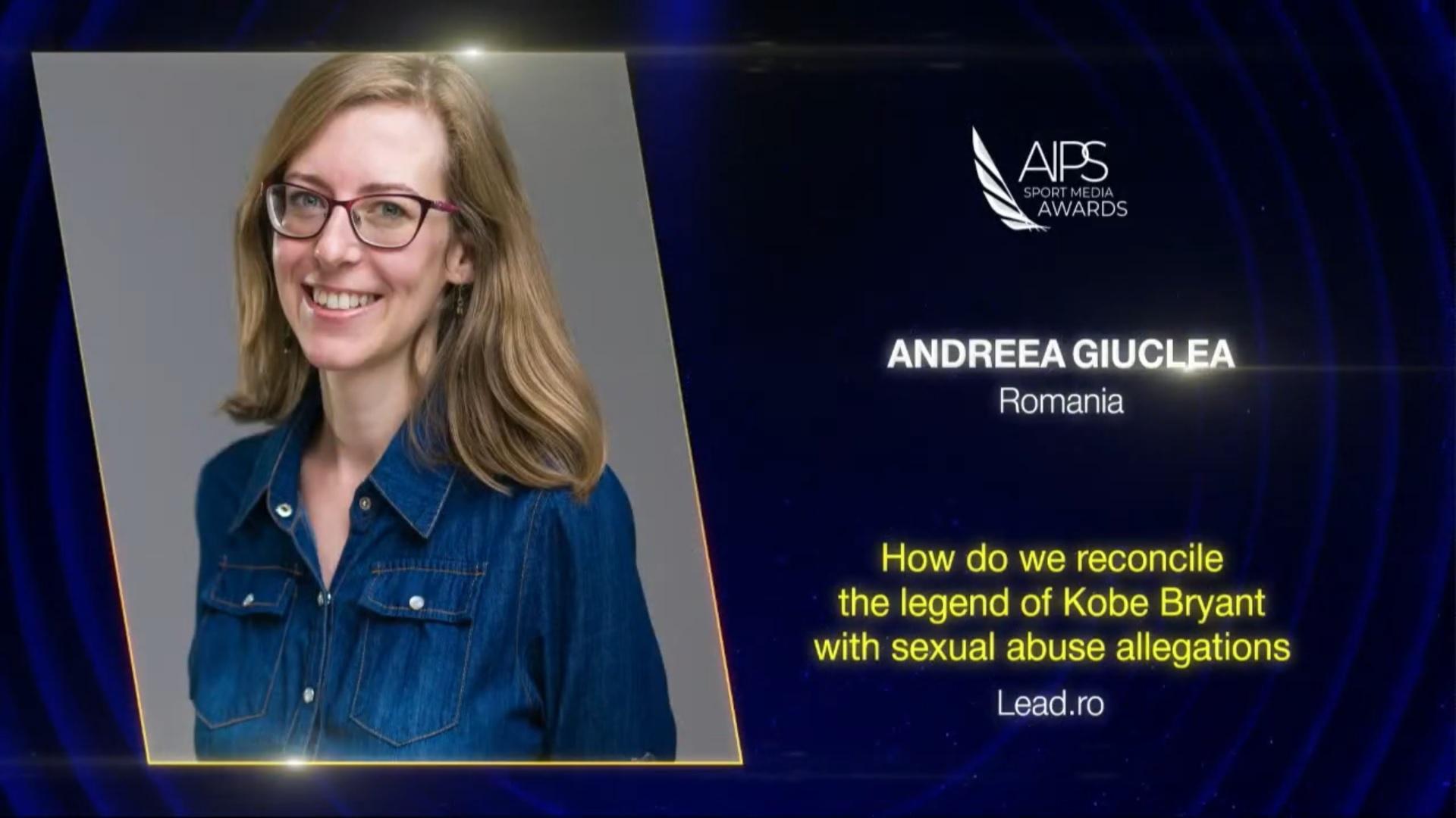 Jurnalista Andreea Giuclea, premiată de AIPS